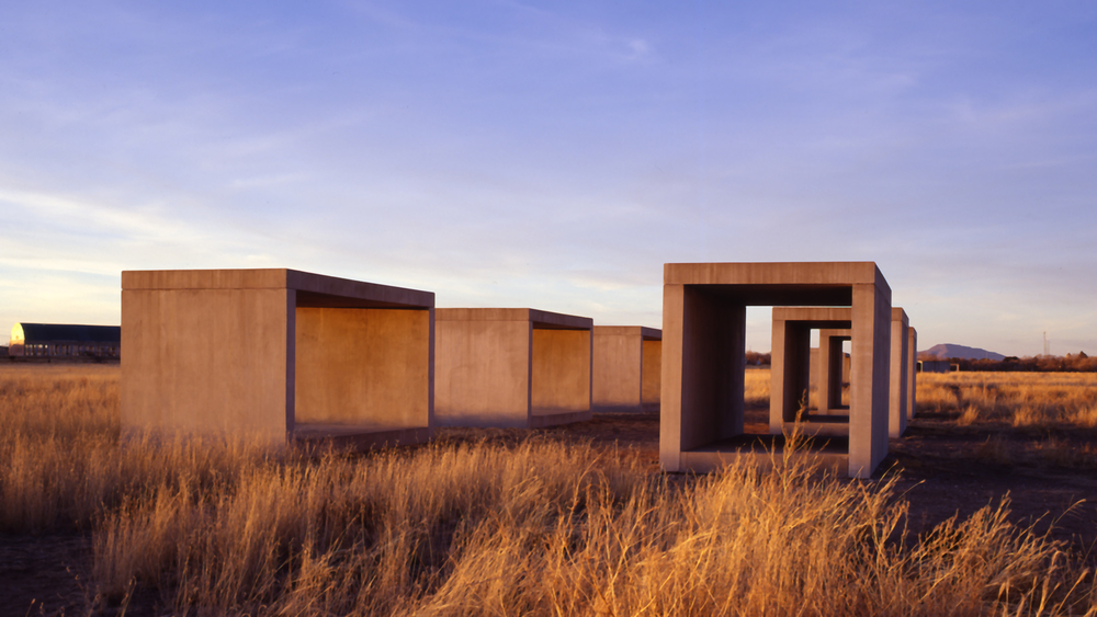 Donald Judd in the landscape at Marfa