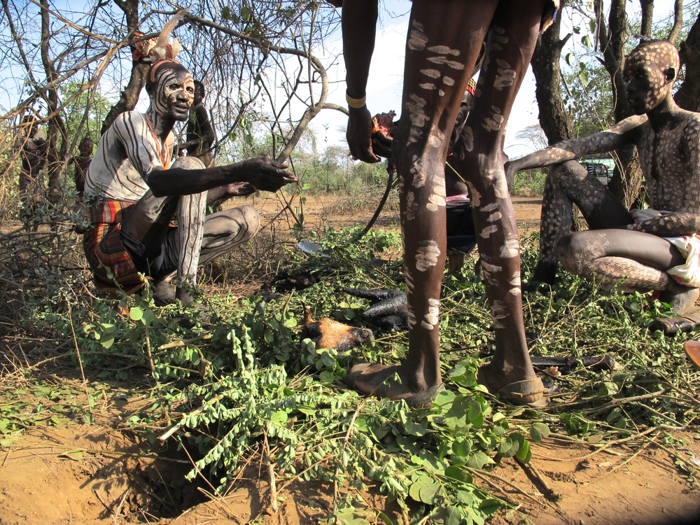 Everything returns to the land, goat roast with the Kara tribe, Omo Valley