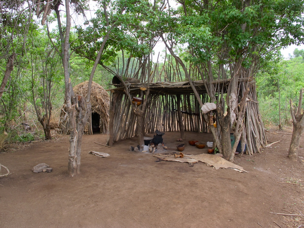 A Kara day-shelter, immaculate and made entirely of the surrounding environment