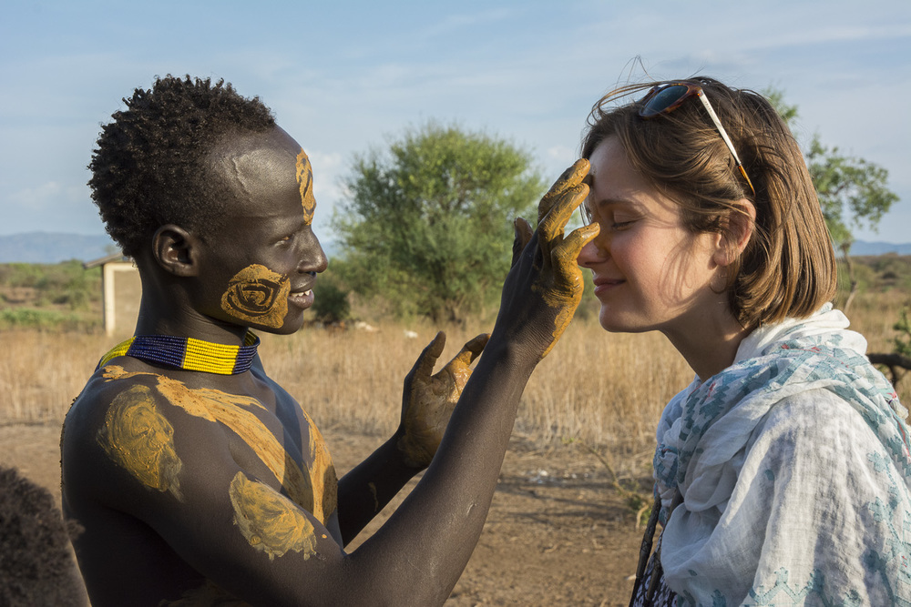 Ochre face painting with the Kara tribe, Ethiopia