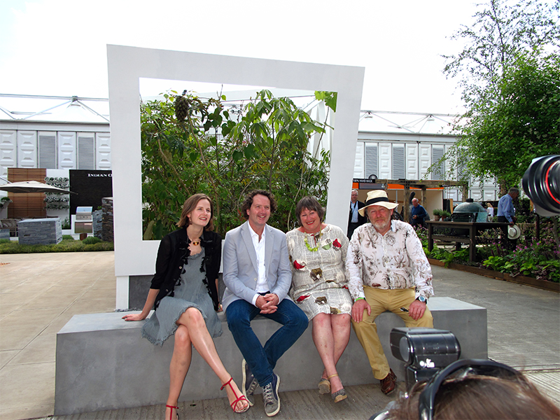 Diarmuid Gavin calls the Daily Mirror photo shoot onsite at Sophie Walker Cave Pavilion RHS Chelsea Flower Show