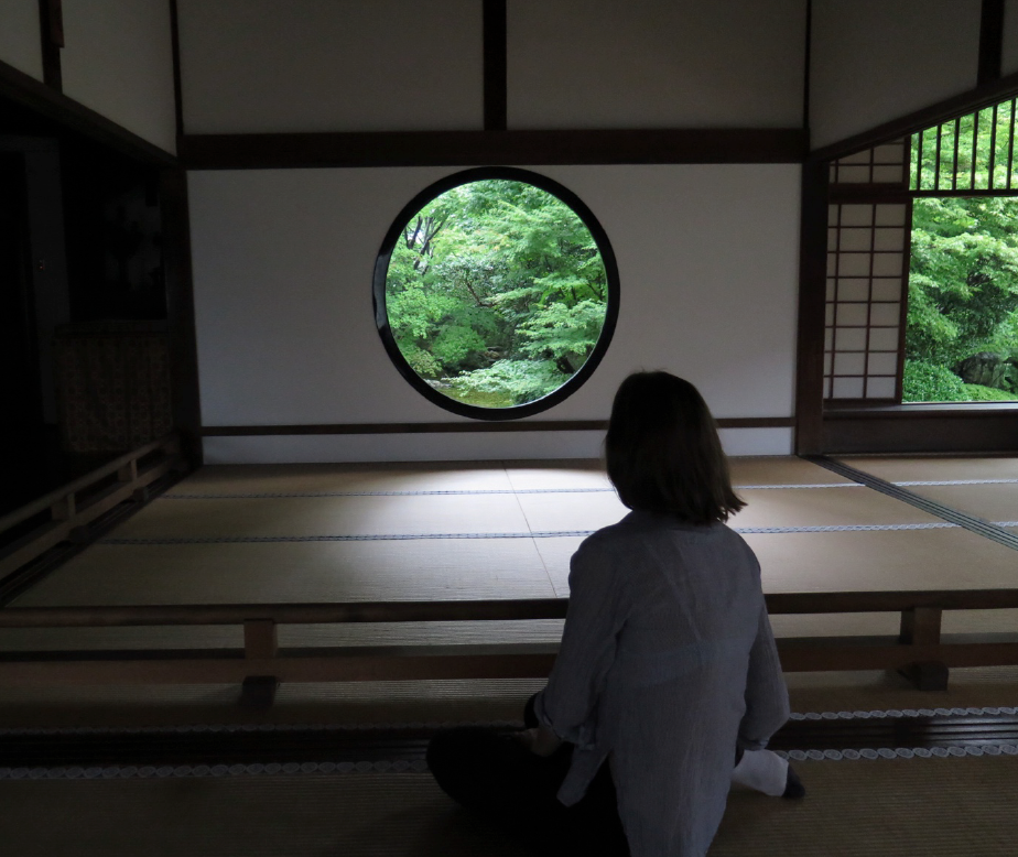 "Sophie Walker at ""The Window of Enlightenment"", Genko-an, Kyoto"