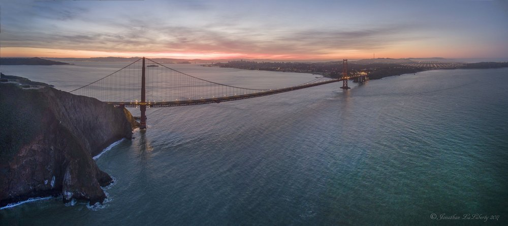 Golden Gate Bridge Sunrise Drone Photography California