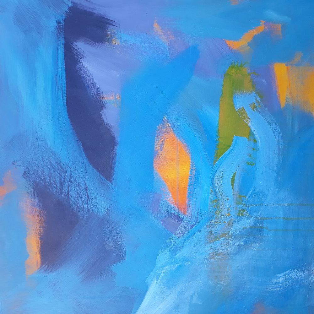 Blue with orange, 2019