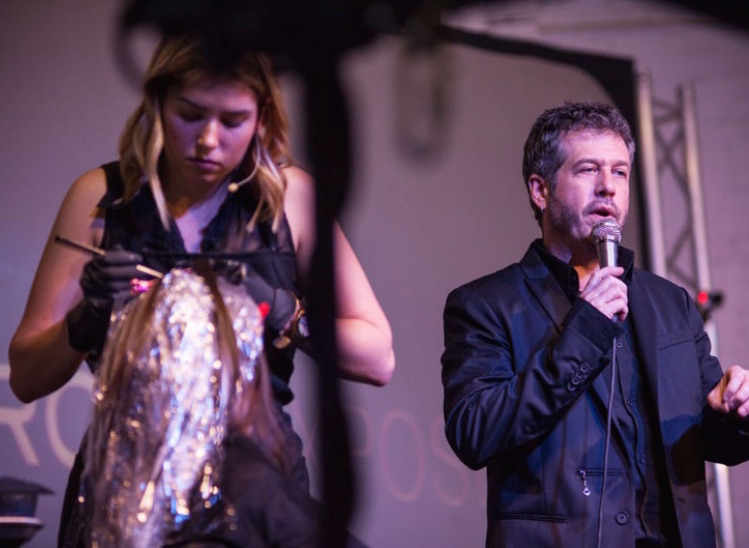 Amber on stage alongside iconic hair colorist, Patrick McIvor