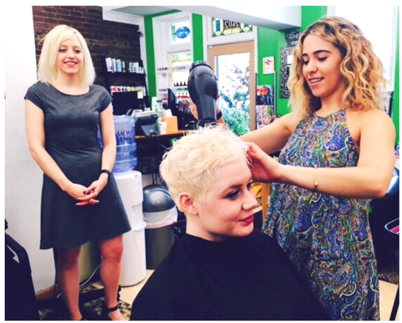 Mckenna facilitating in-salon education for ARROJO Ambassador Salon, Imago, Virgina