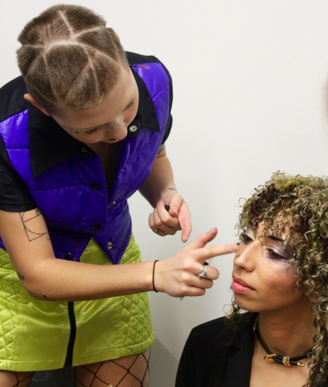 Students also do fashion styling and makeup on their models