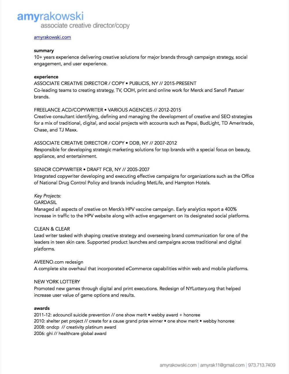 resume — amy rakowski