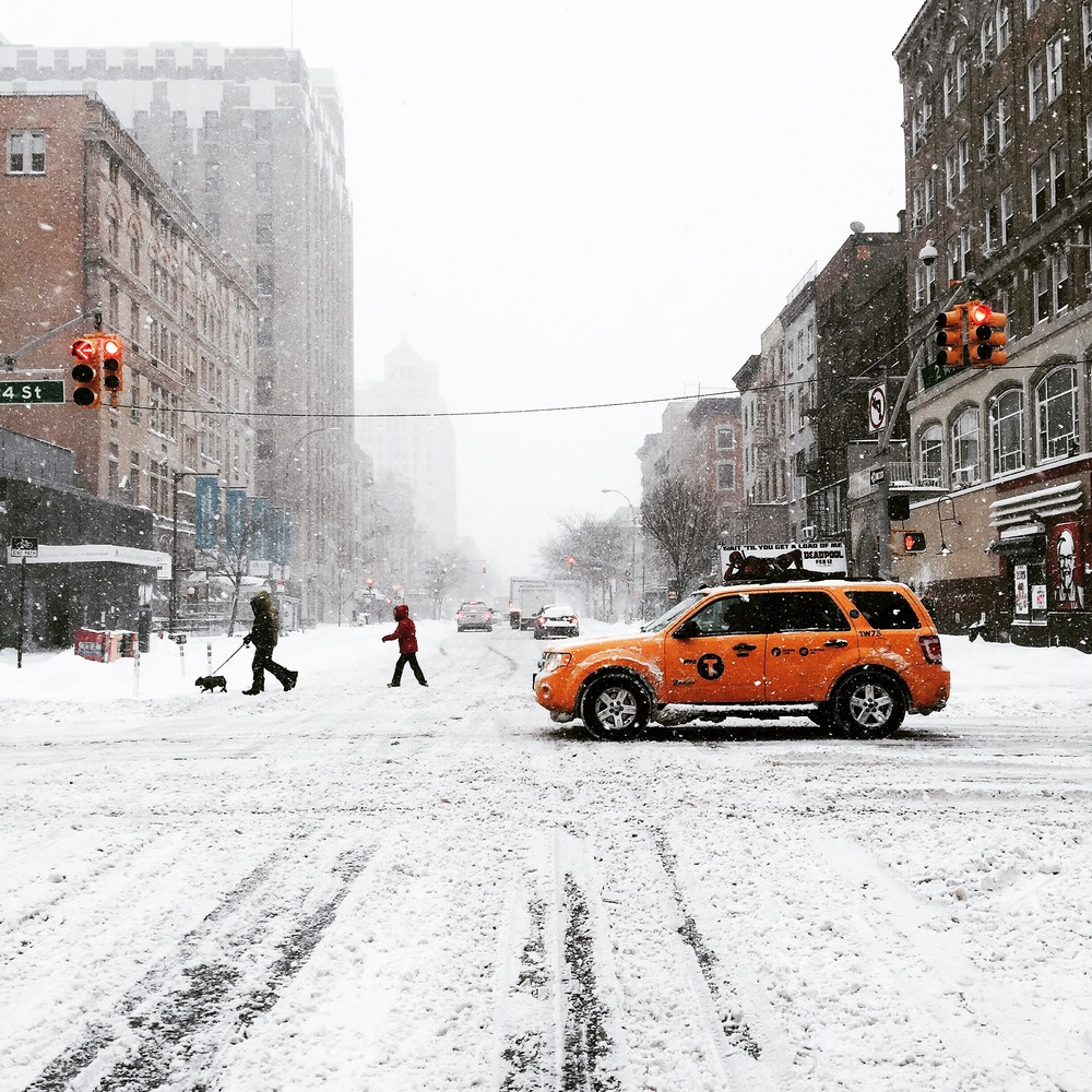 Start of Winter Storm Jonas, New York City, 14th Street, January 2016.