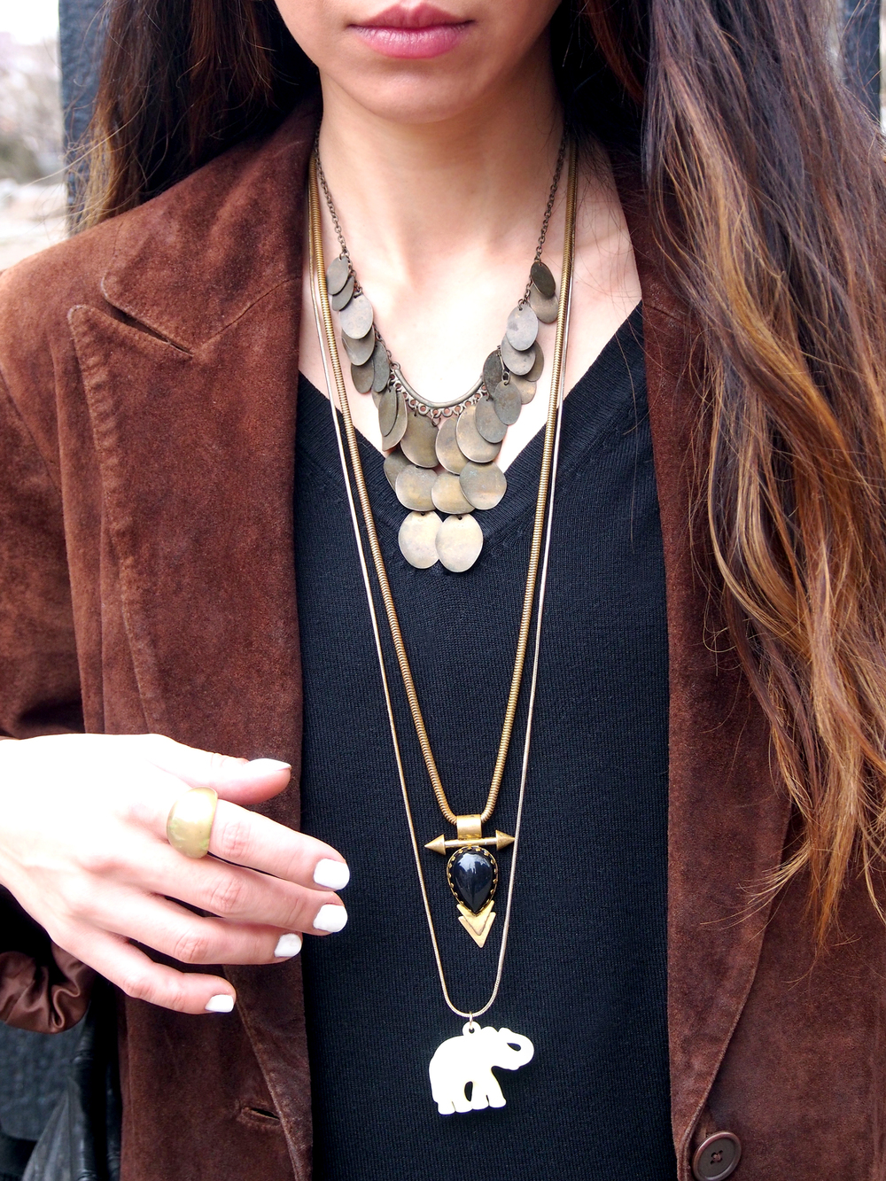 Layers after layers. Necklaces from  H & M ,  The Savvy Heart , and  Forever 21 .