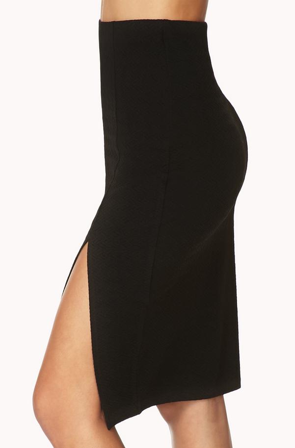 Forever 21 Black Mattelassé Pencil Skirt