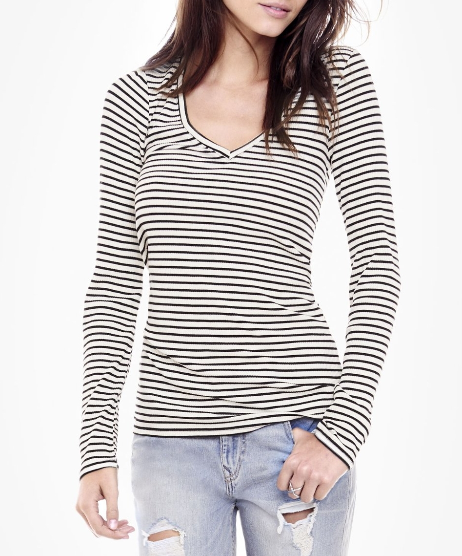 Express Striped One Eleven Long Sleeve Ribbed Tee