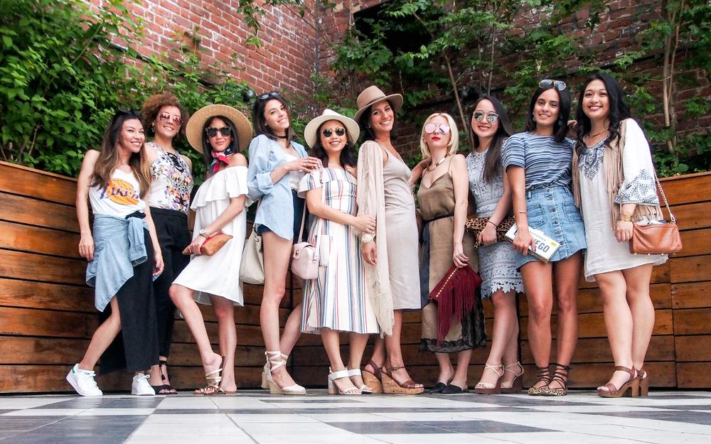 From L to R: MaQ + Suz, ElleD., Maria on Point, Pretty Proper Quaint, Adrianna Naomi, Selma Ali, Areta Style Secrets, Chelsea as of Late, Runway in LA.