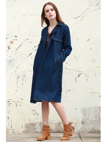 DressFo Long Sleeve Denim Trench
