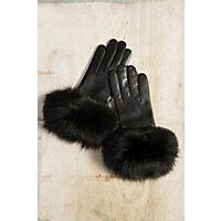 WOMEN'S WOLL-LINED LAMBSKIN GLOVES WITH FOX FUR TRIM