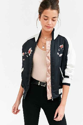 UO Satin Floral Embroidered Jacket