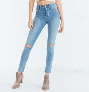 BDG Twig Crop High-Rise Skinny Jean - Light Blue Slash,LIGHT BLUE,25