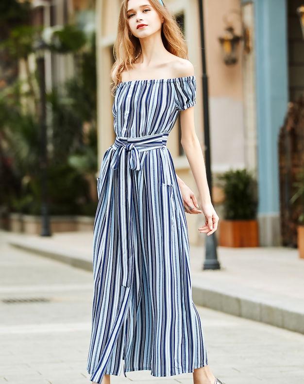 VIP ME Blue Stripe Off the Shoulder Beach Maxi Dress
