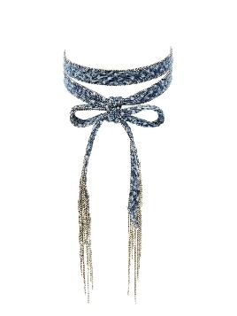 Denim & Chain Fringe Choker Necklace