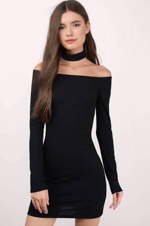Tobi Off the Shoulder Black Dress