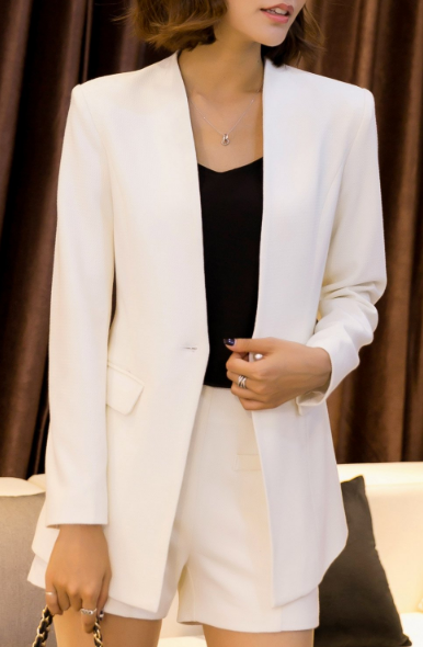 Dezzal White Work Blazer and Mini Shorts