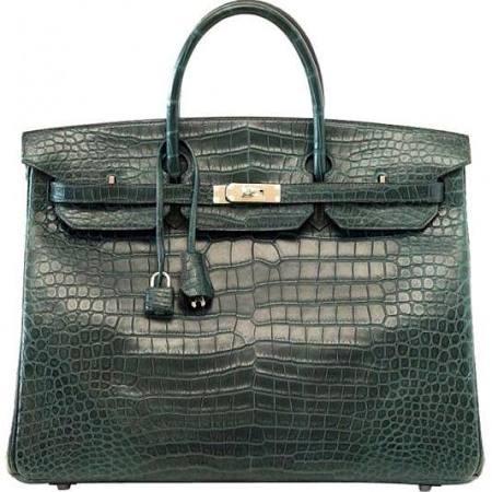 Marshall Field's Faux Green Croc Satchel Bag