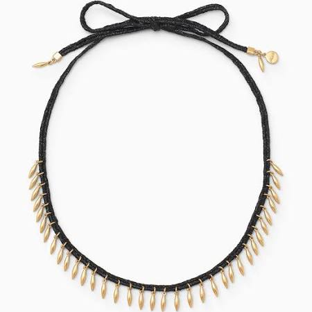 Stella & Dot Gold & Black Fringe Necklace