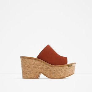 Zara Cork & Leather Wedges