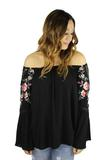 PERIDOT BOUTQUE EMBROIDERED BELL SLEEVES TOP