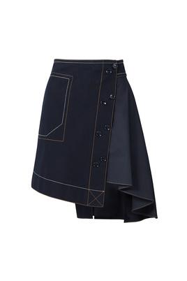 Derek Lam 10 Crosby Midnight Blue Assymetrical Skirt