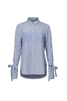 Tibi Striped Tie Sleeve Shirt