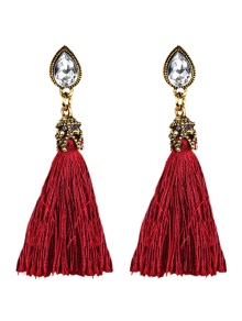 Zaful Rhinestone Tassel Water Drop Earrings