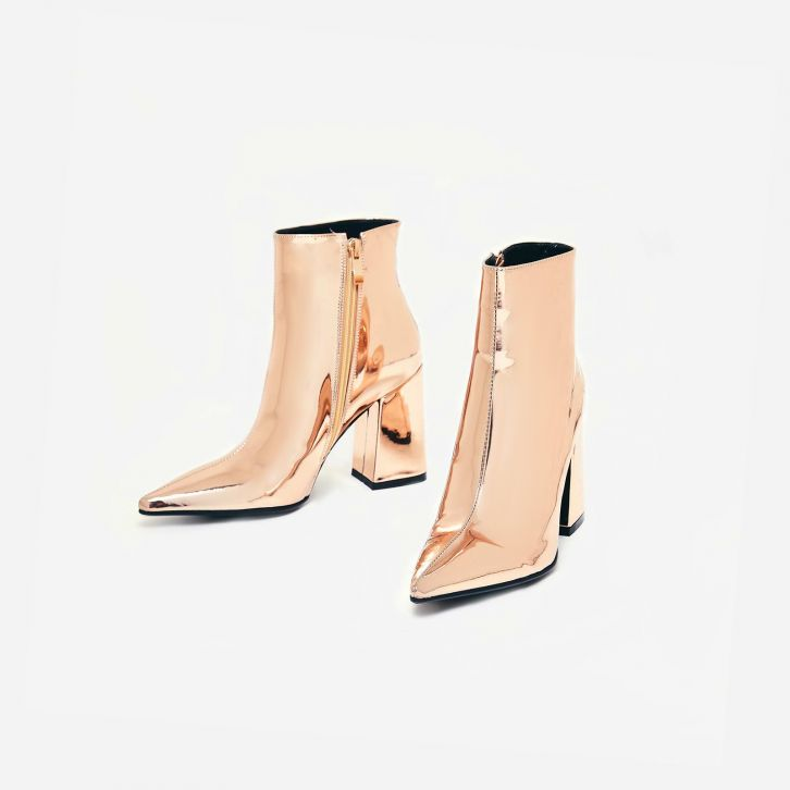 Ego Larna Pointed Metallic Rose Gold Boots