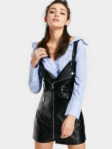 Zaful Zippered Faux Leather Belted Mini Dress