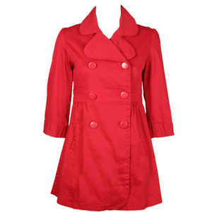 Wet Seal Red Trench w/ Belt