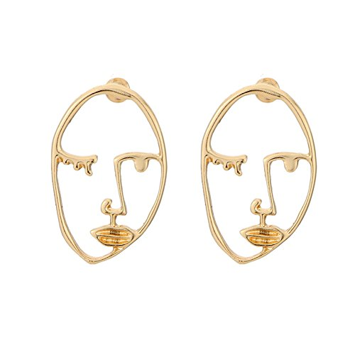 Zealmer Statement Human Face Shaped Earrings Hollow Out Dangling Color Gold Stud Earrings