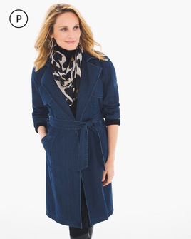 Chico's Women's Indigo Rain Petite Denim Trench Coat, Size: 1P