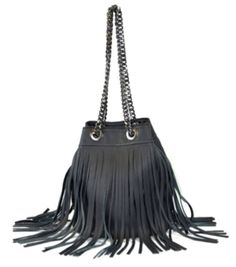 Alles Black Bucket Fringe Bag