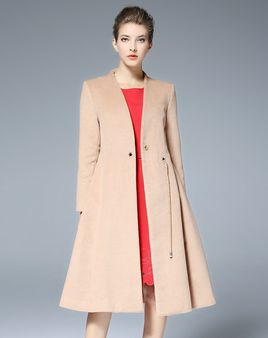 VIPme Apricot Plain V Neck Long Sleeve Fitted Women's Coat