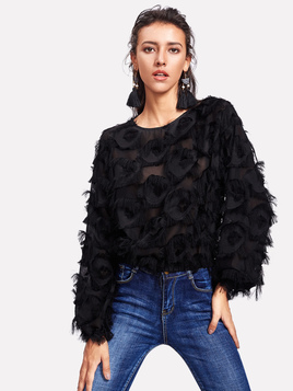 SHEIN Fringe Patch Mesh Top
