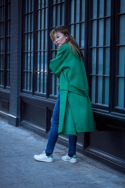 s a k u New York Long Classic Wool Green Coat