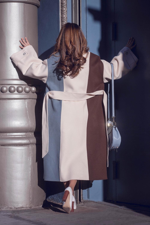 SAKU New York Color Block Long Wool Ivory Coat