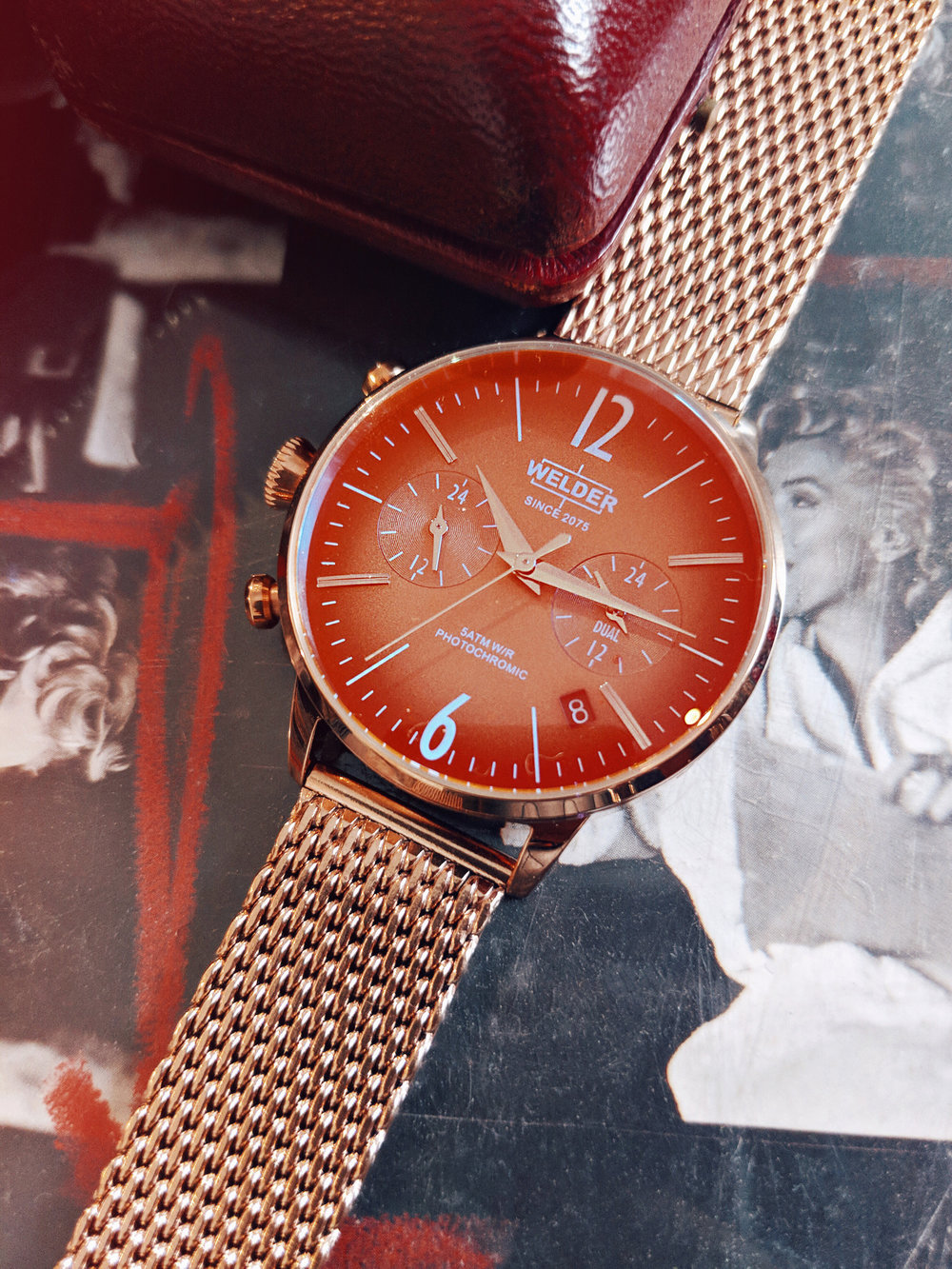 Welder Moody Stainless Steel Mesh Dual Time Rose Gold-Tone Watch