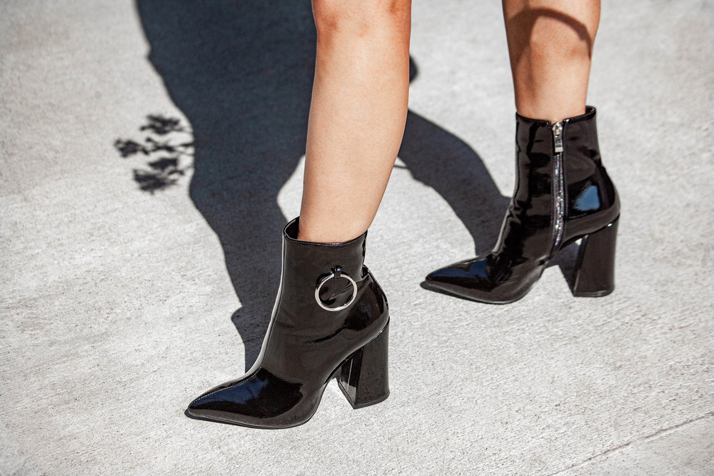 EGO Shoes Ruben Pull Ring Ankle Boot in Black Patent