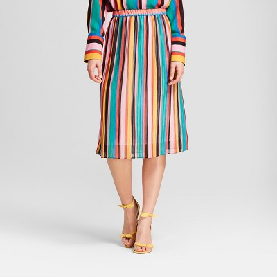 Who What Wear Stripe pleated skirt