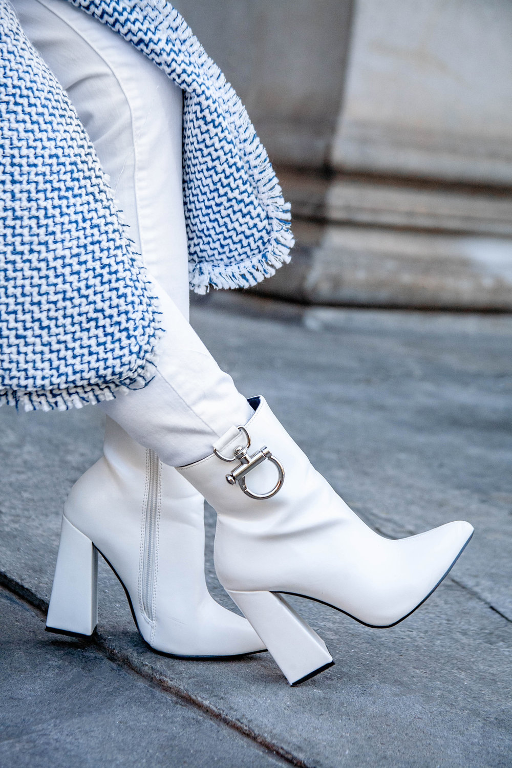 Winter white boots