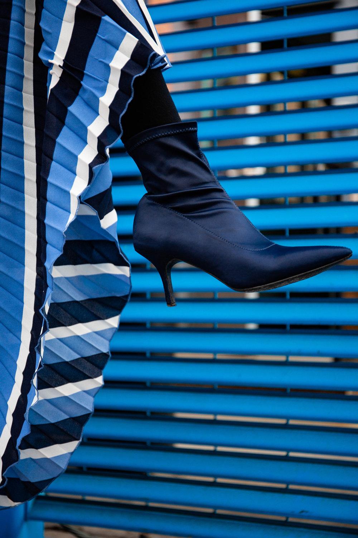 Blue satin boots