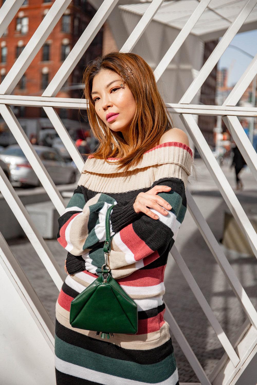 Striped maxi sweater dress
