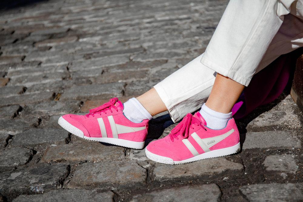 Magenta athletic sneakers