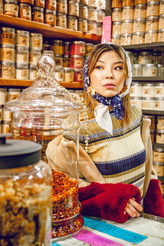 Babushka head scarf
